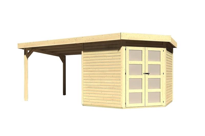 Sonderangebot: Karibu Holz-Gartenhaus Goldendorf 5  im Set mit Anbaudach  2,60 m Breit - 19 mm Flachdach Schraub- Stecksystem - naturbelassen
