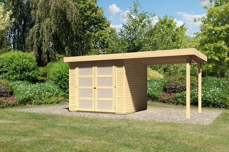 Sonderangebot: Karibu Holz-Gartenhaus Mühlendorf 3  im Set mit Anbaudach 2,20 m Breite - 19 mm Flachdach Schraub- Stecksystem - naturbelassen