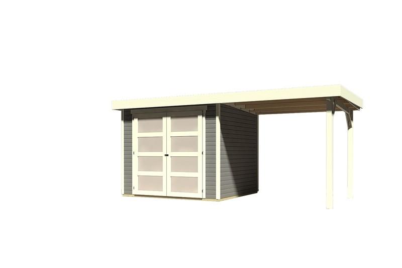 Sonderangebot: Karibu Holz-Gartenhaus Mühlendorf 3  im Set mit Anbaudach 2,20 m Breite - 19 mm Flachdach Schraub- Stecksystem - terragrau