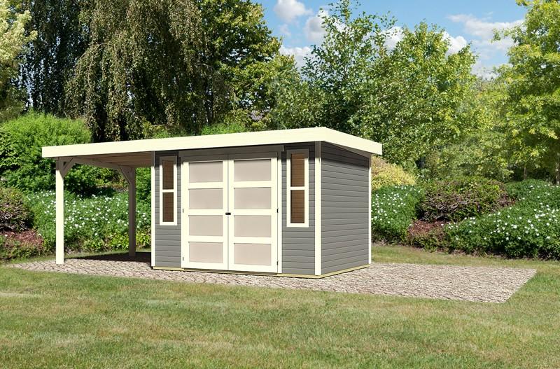 Sonderangebot: Karibu Holz-Gartenhaus Mühlendorf 4  im Set mit Anbaudach 2,20 m Breite - 19 mm Flachdach Schraub- Stecksystem - terragrau