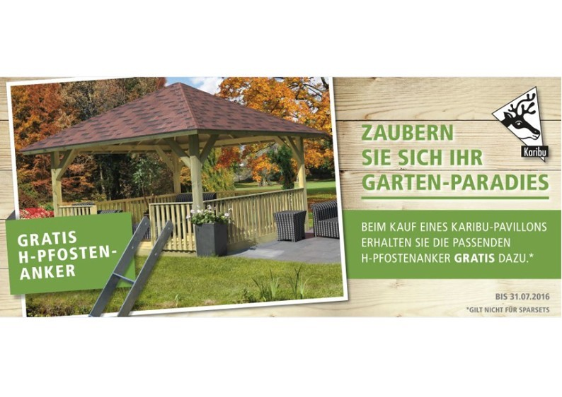 Karibu Holzpavillon 4-Eck Flachdach-Pavillon 2 - kdi