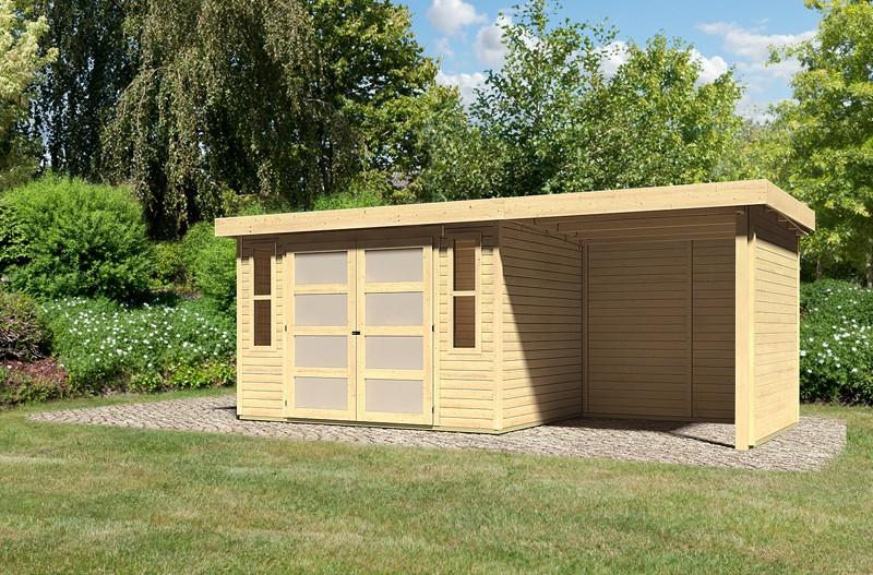 Sonderangebot: Karibu Holz-Gartenhaus Mühlendorf 4  im Set mit Anbaudach 2,20 m Breite und 19 mm Seiten- und Rückwand - naturbelassen