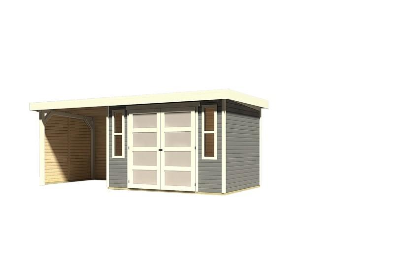Sonderangebot: Karibu Holz-Gartenhaus Mühlendorf 4  im Set mit Anbaudach 2,20 m Breite und 19 mm Seiten- und Rückwand - terragrau