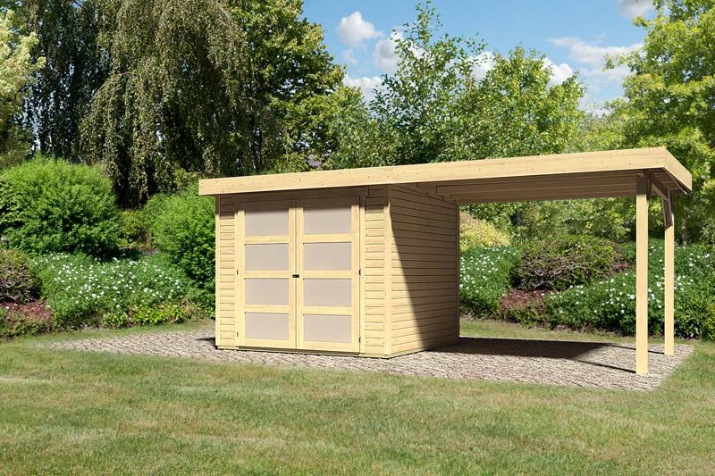 Sonderangebot: Karibu Holz-Gartenhaus Mühlendorf 3  im Set mit Anbaudach 2,60 m Breite - naturbelassen