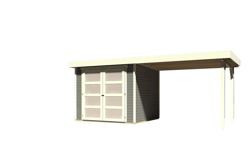 Sonderangebot: Karibu Holz-Gartenhaus Mühlendorf 3  im Set mit Anbaudach 2,60 m Breite - terragrau