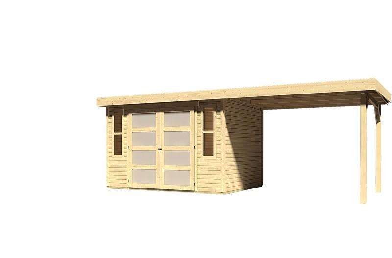 Sonderangebot: Karibu Holz-Gartenhaus Mühlendorf 4  im Set mit Anbaudach 2,60 m Breite - naturbelassen