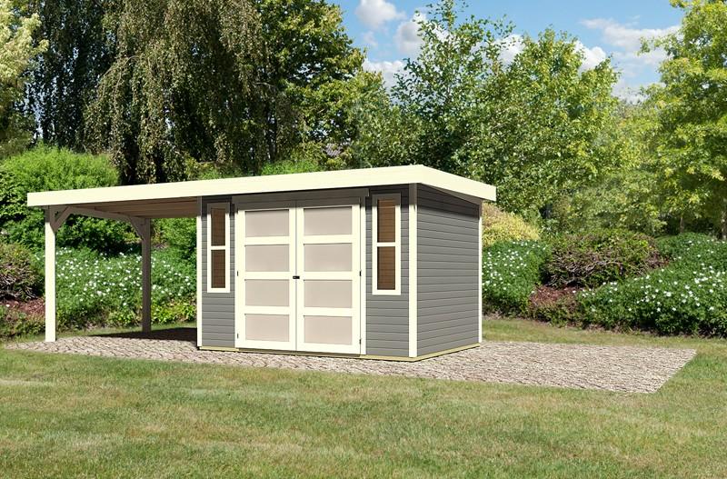 Sonderangebot: Karibu Holz-Gartenhaus Mühlendorf 4  im Set mit Anbaudach 2,60 m Breite - terragrau