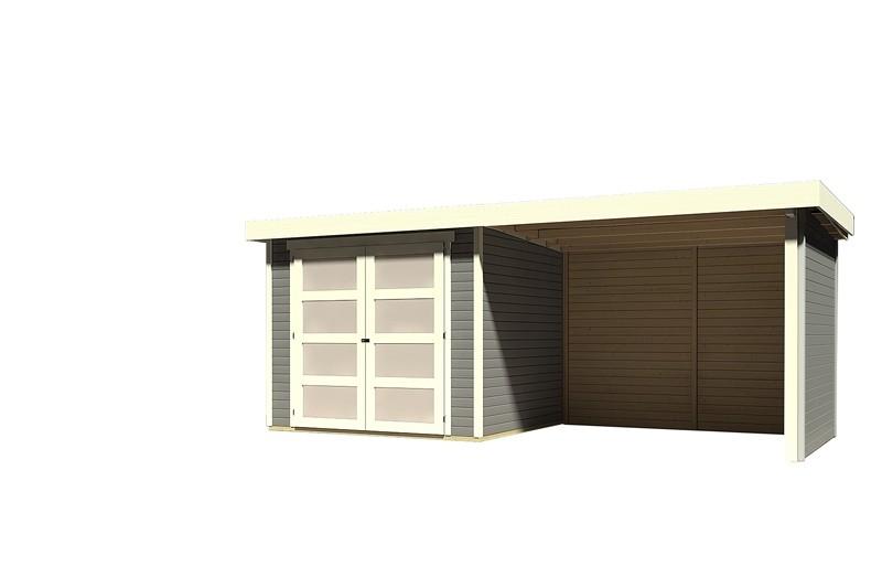 Sonderangebot: Karibu Holz-Gartenhaus Mühlendorf 3  im Set mit Anbaudach 2,60 m Breite und 19 mm Seiten- und Rückwand - terragrau