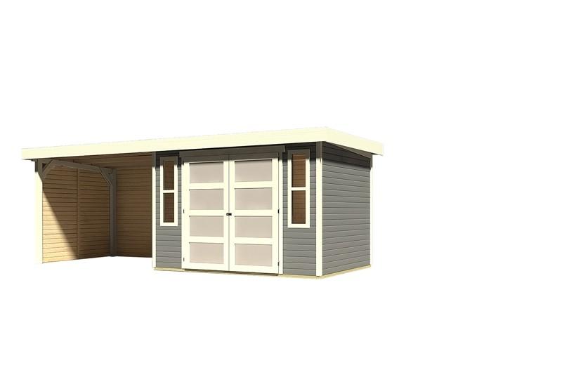 Sonderangebot: Karibu Holz-Gartenhaus Mühlendorf 4  im Set mit Anbaudach 2,60 m Breite und 19 mm Seiten- und Rückwand - terragrau
