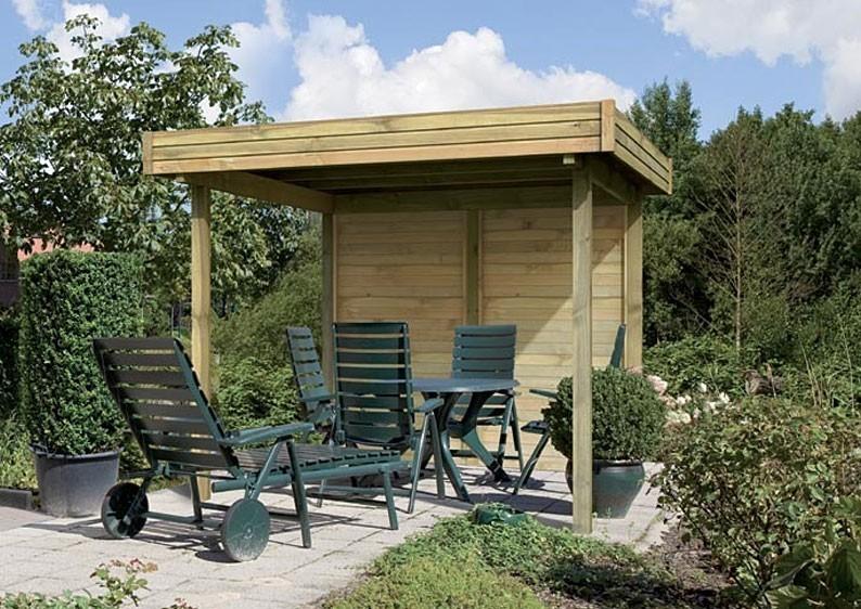 Karibu Holzpavillon 4-Eck Flachdach-Pavillon 3 - kdi
