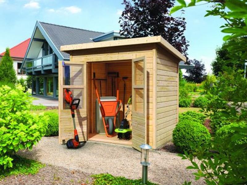 Sommeraktion: Karibu Holz-Gartenhaus Merseburg 2 - 14 mm Pultdach im Steck- und Schraubsystem - naturbelassen