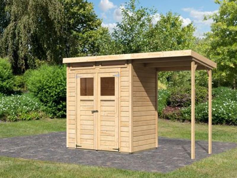 Sommeraktion: Karibu Holz-Gartenhaus Merseburg 2 mit Schleppdach im Set - 14 mm Pultdach im Steck- und Schraubsystem - naturbelassen