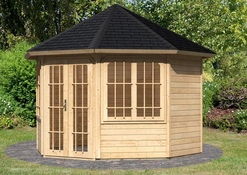 Sonderangebot: Karibu Holzpavillon Rom 2 8-Eck - Premium - natur