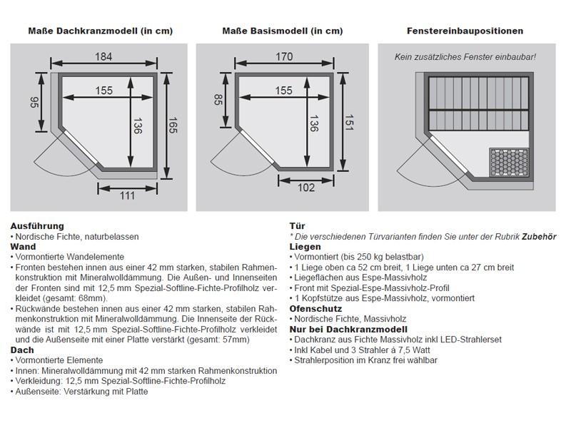 Karibu System Sauna Taurin (Eckeinstieg) 68 mm mit Dachkranz - mit Energiespartür