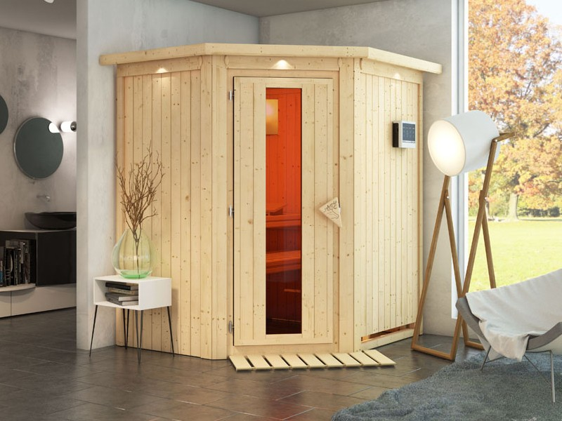 Karibu System Sauna Taurin (Eckeinstieg) 68 mm mit Dachkranz inkl. Ofen 9 kW integr. Steuerung - mit Energiespartür