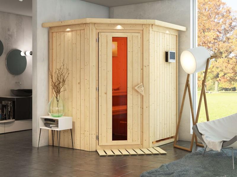 Karibu System Sauna Taurin (Eckeinstieg) 68 mm mit Dachkranz inkl. Ofen 9 kW ext. Steuerung - mit Energiespartür