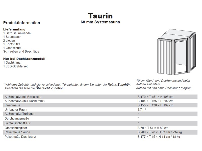 Karibu System Sauna Taurin (Eckeinstieg) 68 mm ohne Dachkranz mit Energiespartür