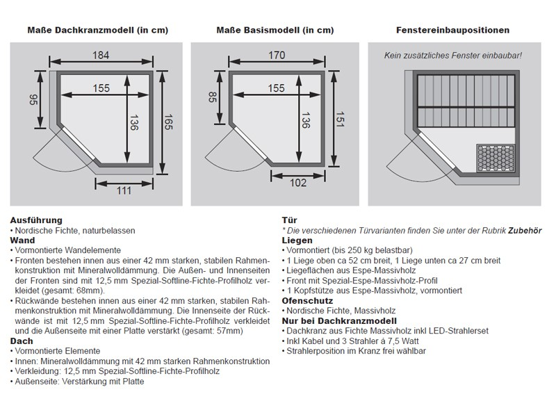 Karibu System Sauna Taurin (Eckeinstieg) 68 mm  inkl. Ofen 9 kW Bio-Kombi ext. Steuerung - mit Energiespartür