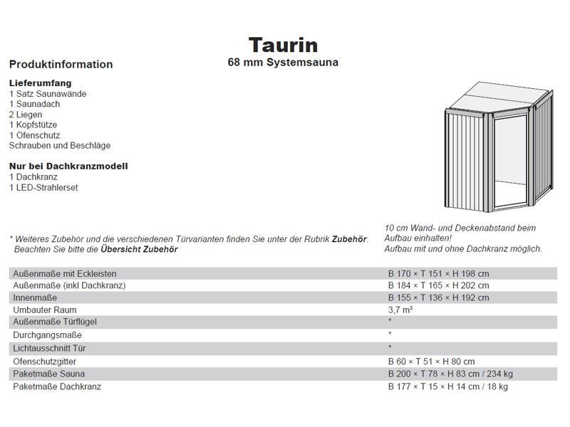 Karibu System Sauna Taurin (Eckeinstieg) 68 mm mit Dachkranz inkl. Ofen 9 kW Bio-Kombi ext. Steuerung - mit graphitfarbender Gansglastür