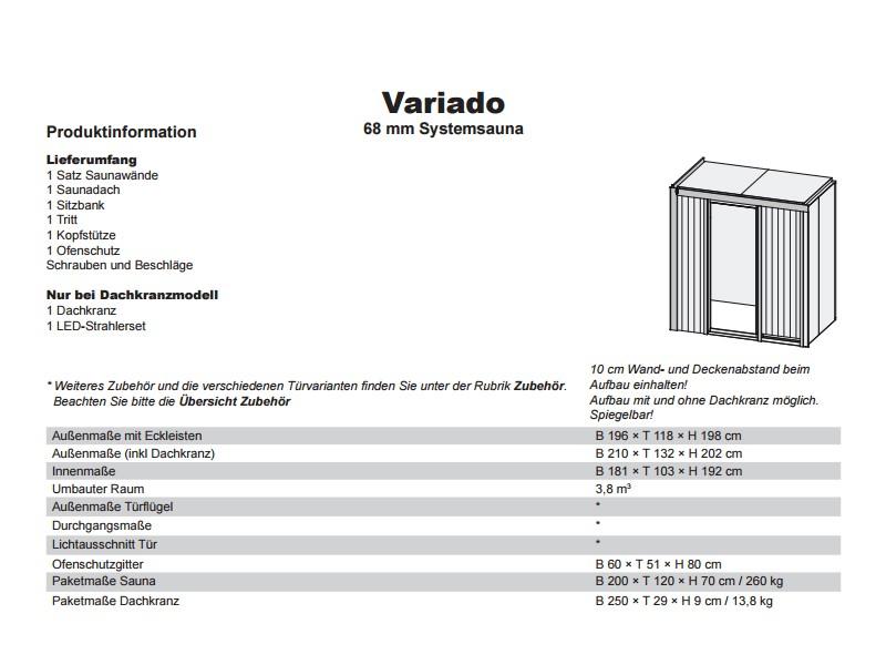 Karibu System Sauna Variado (Fronteinstieg) 68 mm ohne Dachkranz - mit Energiespartür