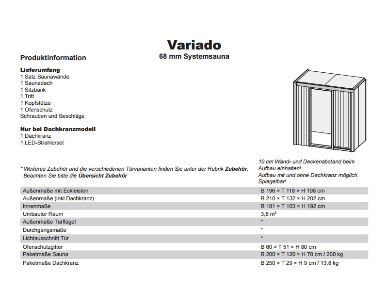 Karibu System Sauna Variado (Fronteinstieg) 68 mm inkl. Ofen 9 kW ext. Steuerung - mit Energiespartür
