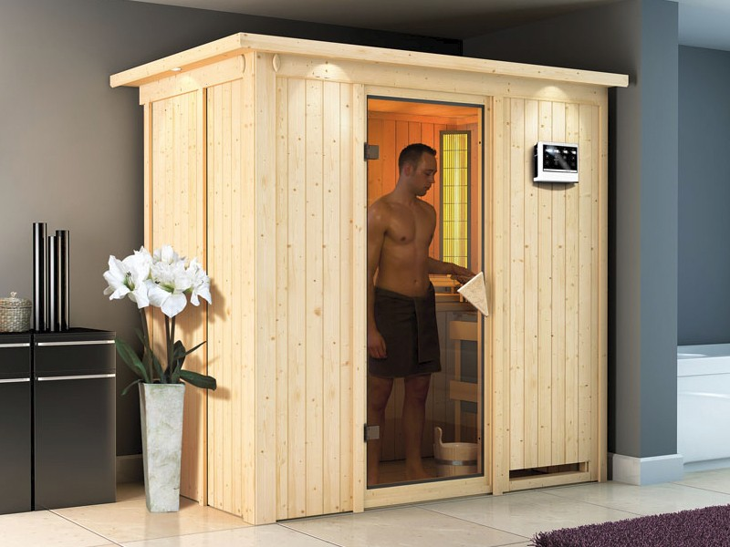Karibu System Sauna Variado (Fronteinstieg) 68 mm  inkl. Ofen 9 kW Bio-Kombi ext. Steuerung - mit Energiespartür