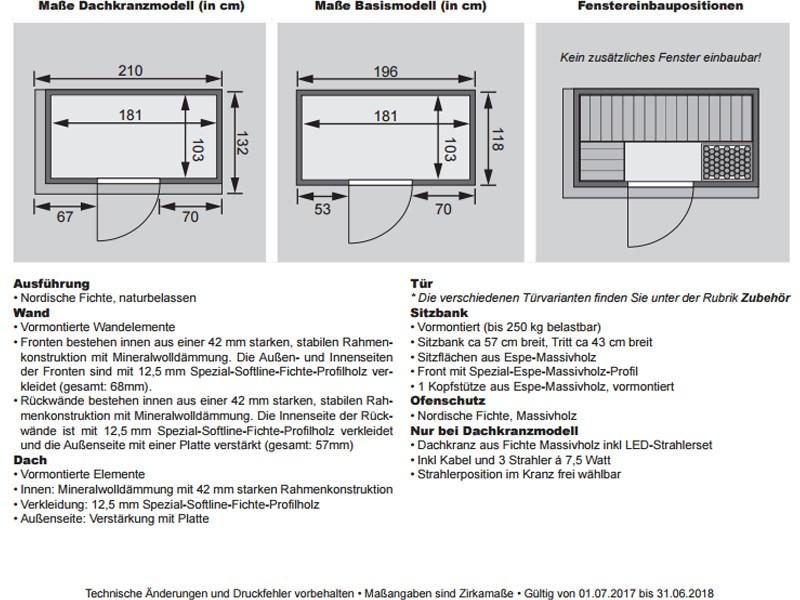 Karibu System Sauna Variado (Fronteinstieg) 68 mm mit Dachkranz inkl. Ofen 9 kW ext. Steuerung - mit Energiespartür
