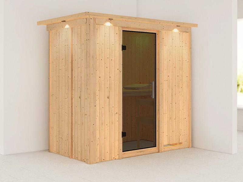 Karibu System Sauna Variado (Fronteinstieg) 68 mm mit Dachkranz -  graphitfarbender Ganzglastür