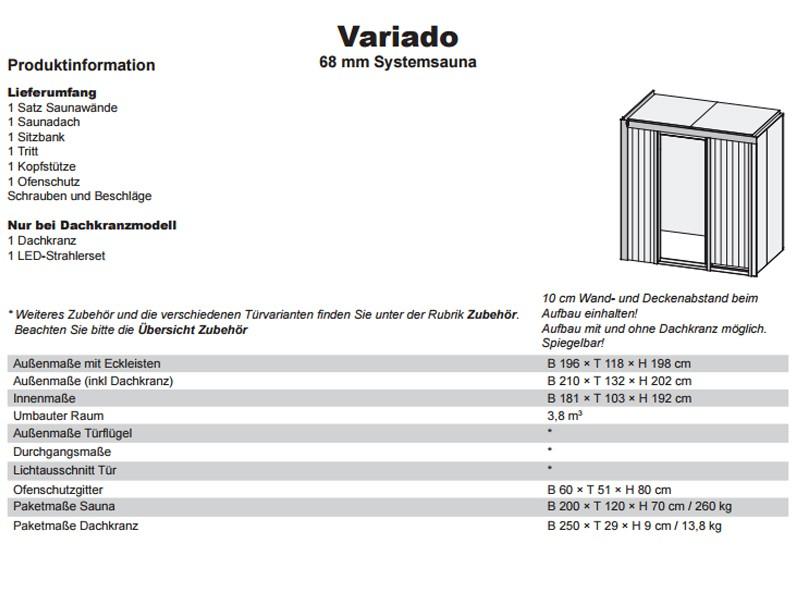 Karibu System Sauna Variado (Fronteinstieg) 68 mm mit Dachkranz inkl. Ofen 9 kW Bio-Kombi ext. Steuerung - mit graphitfarbender Ganzglastür
