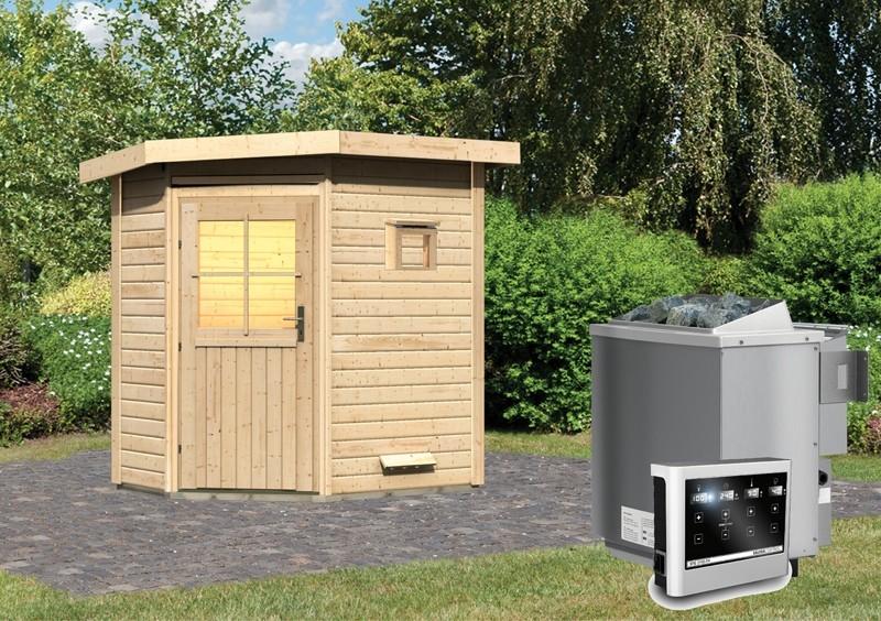 Karibu 38mm Gartensauna Saunahaus Pultdach Jekka - niedriger Energieverbrauch! inkl. 9 kW Bio-Ofen ext. Strg. easy
