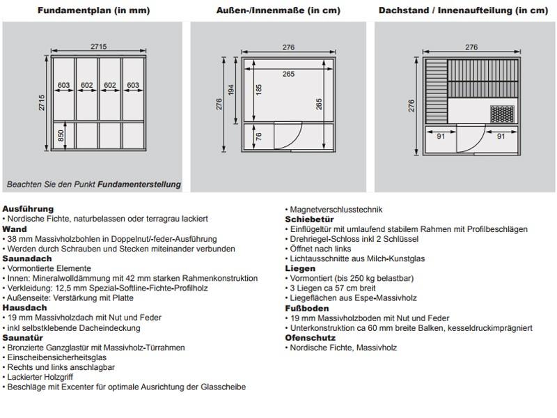 Karibu Gartensauna Flachdachhaus Cuben inkl. Vorraum und Dachbahn - naturbelassen - 9 kW Ofen ext. Strg.