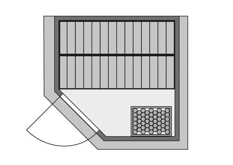 Woodfeeling 38 mm Massiv Sauna Nina Classic (Eckeinstieg) ohne Dachkranz mit Energiespatür