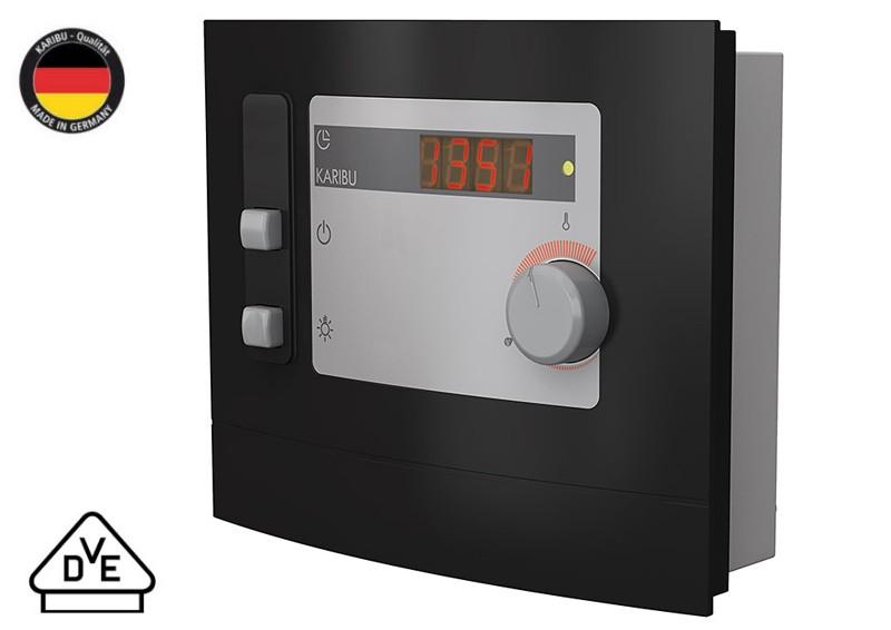 Karibu Systembau Sauna Nybro Classic (Fronteinstieg) 68 mm inkl. Biokombi-Ofen + ext. Strg. und Zubehör