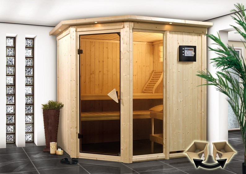 Karibu System Sauna Fiona 1 (Eckeinstieg) 68 mm