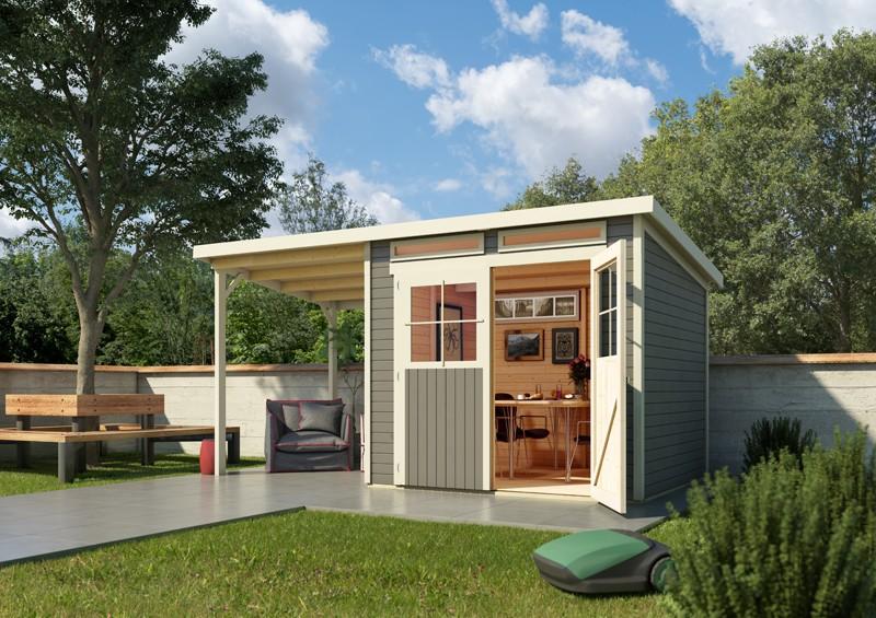 Karibu Holz-Gartenhaus  19mm Glücksburg 2 im Set mit Anbaudach naturbelassen