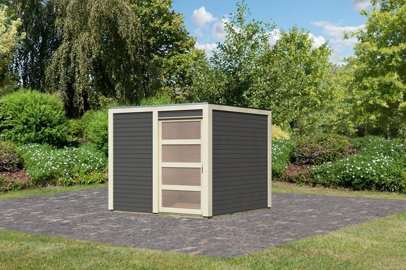 Karibu Holz-Gartenhaus  19mm Qubic terragrau inkl. Alu-Dachbahnrollen