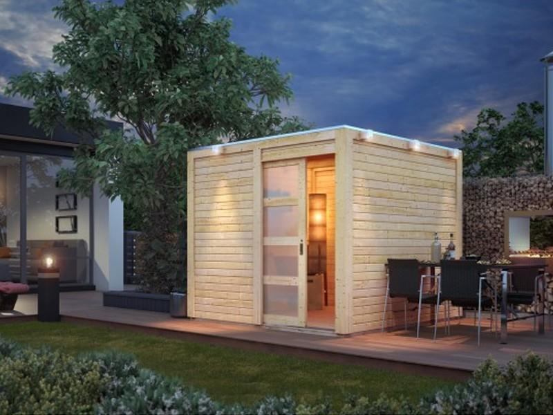 Karibu Holz-Gartenhaus  28mm Qubic im Set mit Anbaudach naturbelassen inkl. Alu-Dachbahnrollen