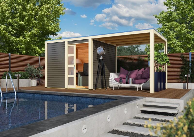 Karibu Holz-Gartenhaus  28mm Qubic im Set mit Anbaudach  terragrau