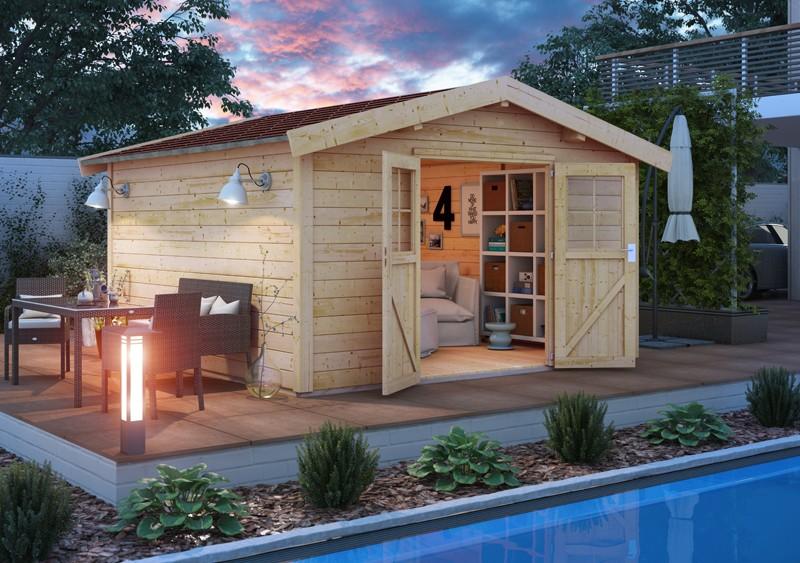 Karibu Holz-Gartenhaus  28mm Espelo 4 naturbelassen