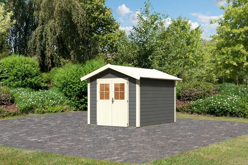 Karibu Holz-Gartenhaus  28mm Espelo 4 terragrau
