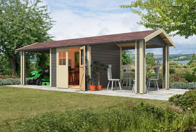 Karibu Holz-Gartenhaus  28mm  Espelo 4 im Set mit 1 Dachausbauelement terragrau