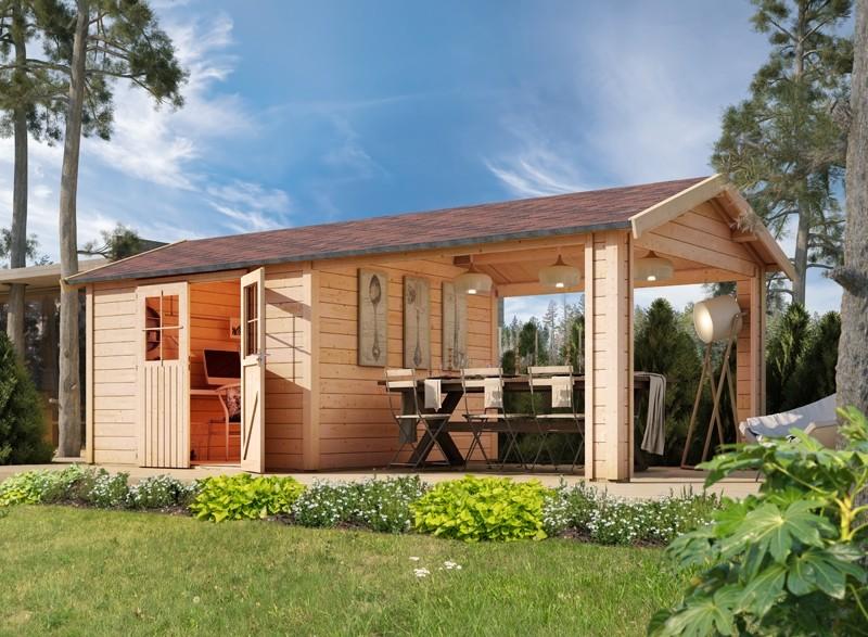 Karibu Holz-Gartenhaus  28mm  Espelo 7 im Set mit 1 Dachausbauelement naturbelassen