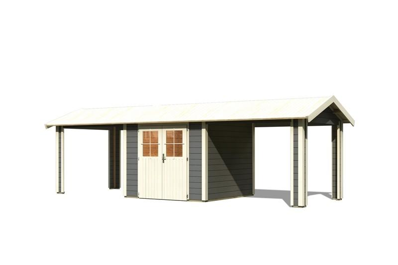 Karibu Holz-Gartenhaus  28mm Espelo 3 im Set mit 2 Dachausbauelement terragrau