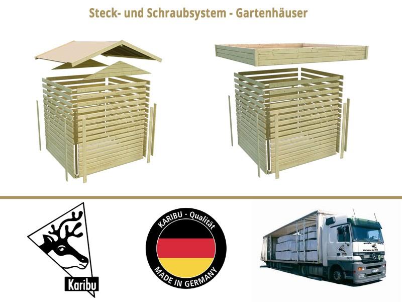 Karibu Holz-Gartenhaus  28mm Qubu Eck inkl Anbaudach 2 m breit terragrau inkl. Alu-Dachbahnrolle