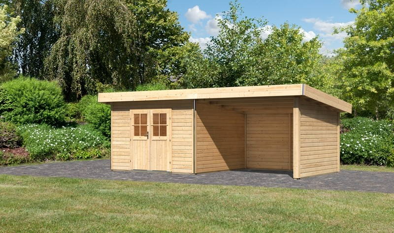 Karibu Holz-Gartenhaus  40 mm Moosburg 3 Türversion classic im Set 3 m Anbaudach Seiten- und Rückwand naturbelassen