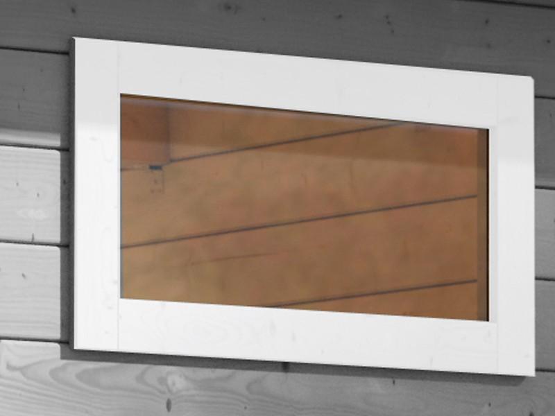 Karibu Holz-Gartenhaus  38 mm längliches feststehendes Fenster  elfenbeinweiss