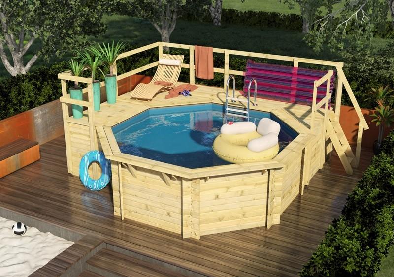 Karibu Holzpools Variante F Ausstattung wie Variante E + Sonnenterrasse inkl. Geländer, Seitenwände und Terrassendeck kdi