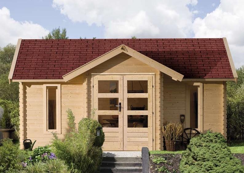 Woodfeeling Holz-Gartenhaus Nordland Satteldach 28 mm Blockbohlenhaus - natur