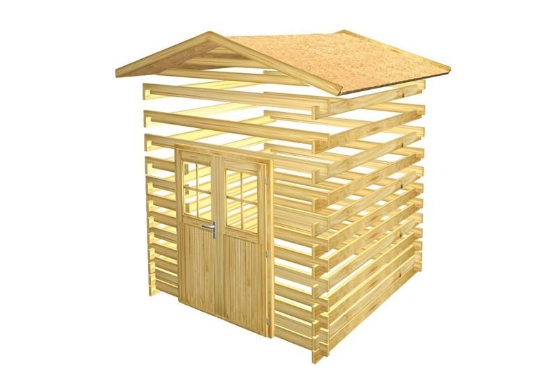 Woodfeeling Holz-Gartenhaus Lagor 2 Satteldach 38 mm Blockbohlenhaus Mittelwandhaus- natur