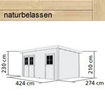 Woodfeeling Holz-Gartenhaus Mattrup Flachdach 28 mm Mittelwand- natur